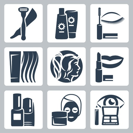 Vector isolated cosmetology icons set Stock Vector - 23520676