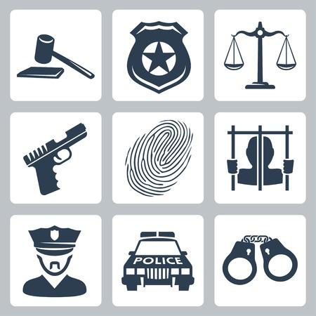 balanza en equilibrio: Aislados iconos de la policía criminal de vector definido