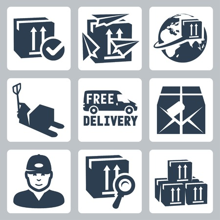 jack in a box: Vector delivery icons set  box, paperplanes, globe, pallet jack, van, parcel, courier, tracking, warehouse