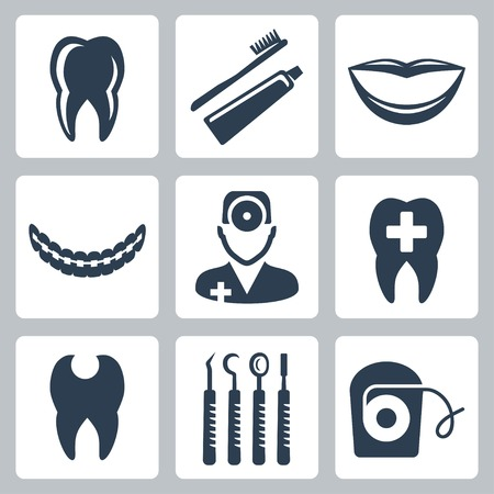 dental mirror: Vector isolated dental icons set