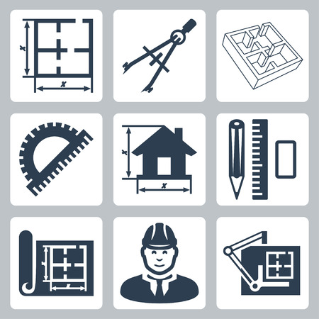 estate planning: Vector building design icons set  layout, pair of compasses, protractor, pencil, ruler, eraser, blueprint, designer, drawing board Illustration
