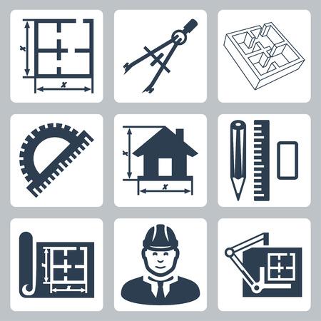 pravítko: Vector stavební design ikony nastavit uspořádání, kružítko, úhloměr, tužka, pravítko, gumu, modrák, projektanta, rýsovacím prkně Ilustrace