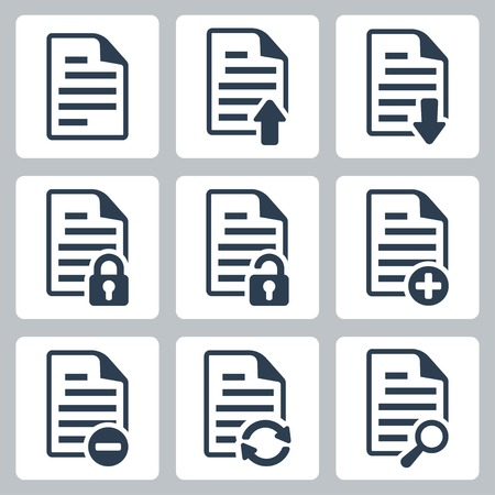 plus icon: Vector isolated document icons set