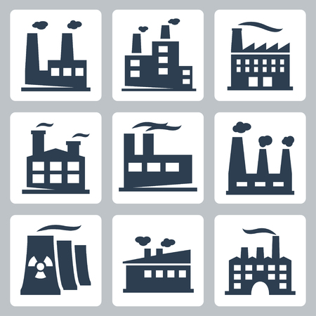 clipart chimney: Vector isolated factory icons set Illustration