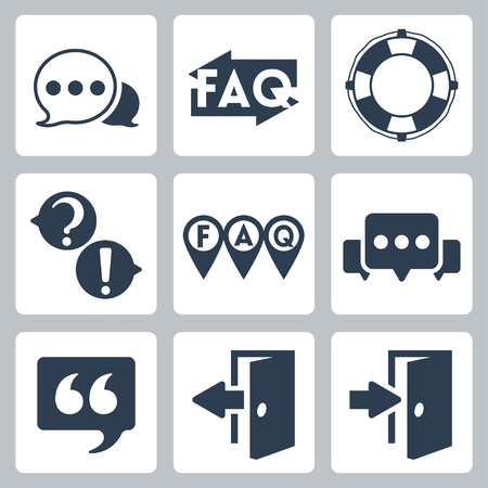 log out: Vector isolated faq info icons set