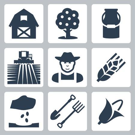 planta de maiz: Agrícolas Iconos fijados granero, manzano, la leche puede, campo y recolector, granjero, espiga de trigo, la siembra, la pala y el rastrillo, el maíz