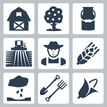 corn crop: Vector farming icons set  barn, apple tree, milk can, field and harvester, farmer, ear of wheat, seeding, spade and pitchfork, corn
