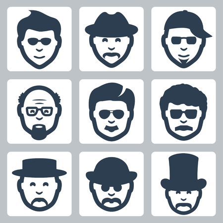 derby hats: Vector isolated male faces icons set