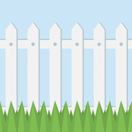 picket: Vector seamless pattern of white fence, grass and light blue background