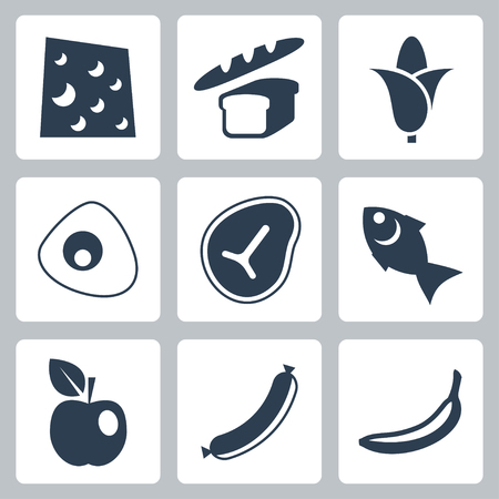 continental food: Vector isolated food icons set
