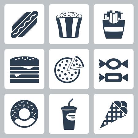 junk: Vector junk food icons set