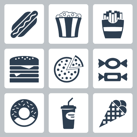 unhealthy food: Vector junk food icons set