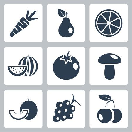 tomate cherry: Iconos de los alimentos de salud vector definido Vectores