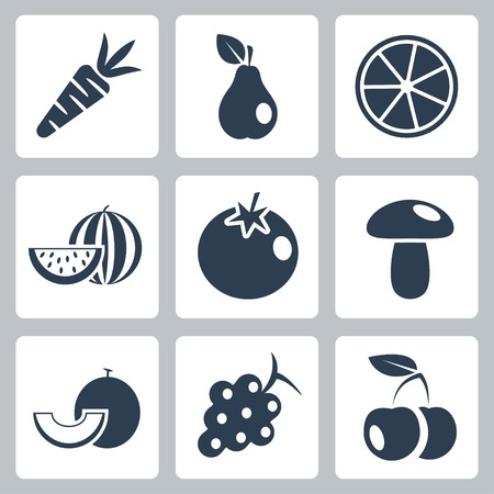 grapes and mushrooms: Vector health food icons set