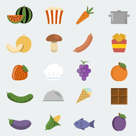 take out food: Vector food icons set in