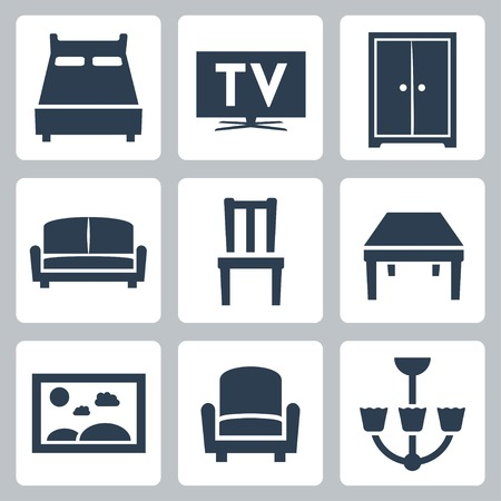 tv room: Vector isolated furniture icons set
