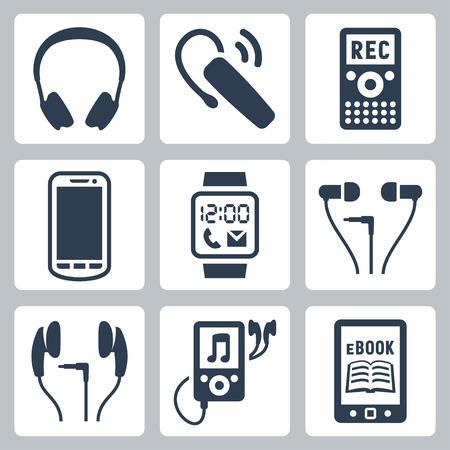 ベクトルのガジェットのアイコンを設定するヘッドフォン、無線ヘッドセット、ディクタ フォン、スマート フォン、スマートな腕時計、MP3 プレイ