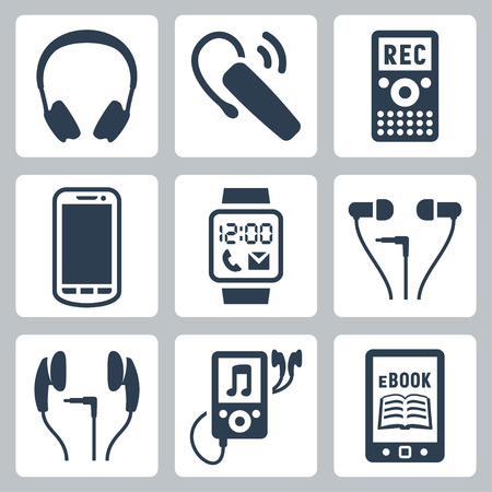 dictating: Vector gadgets icons set  headphones, wireless headset, dictaphone, smartphone, smart watch, MP3 player, ebook reader
