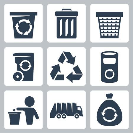 camion de basura: Aislados iconos de basura vector definido