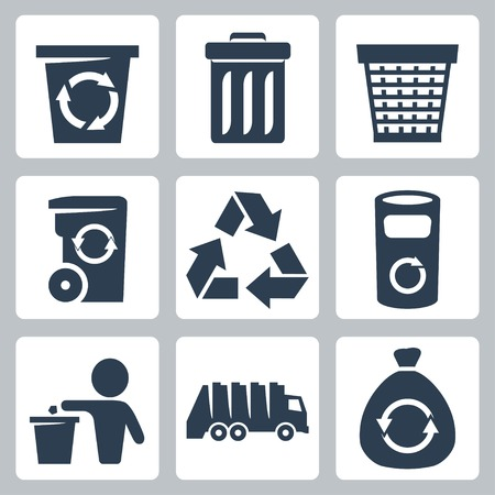 recycle paper: Vector isolated garbage icons set Illustration