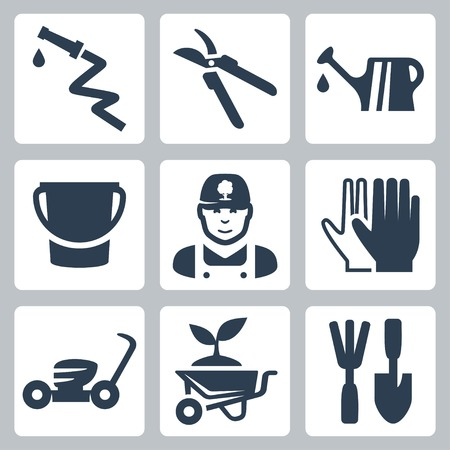Vector tuinieren pictogrammen die slang, snoeischaar, gieter, emmer, tuinman, handschoenen, grasmaaier, kruiwagen en planten, ripper en spatel