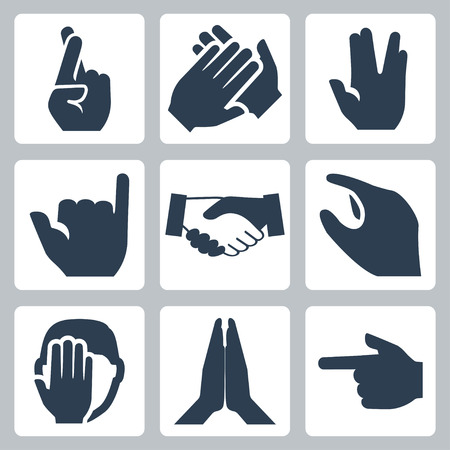 grip: Vector hands icons set  cross fingers, applause, vulcan salute, shaka, handshake, size, facepalm, namaste, pointer Illustration