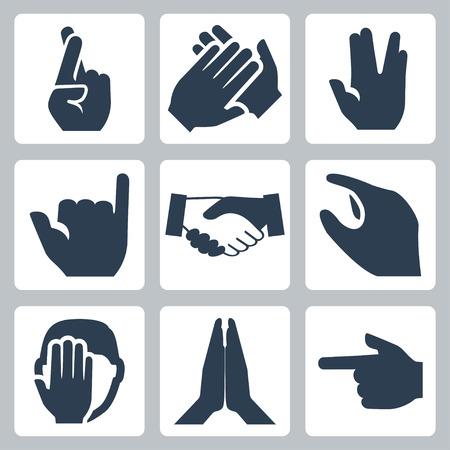manos aplaudiendo: Vector manos iconos conjunto dedos cruzados, aplausos, saludo Vulcano, shaka, apretón de manos, el tamaño, facepalm, namaste, puntero Vectores