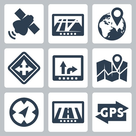 Vector GPS and navigation icons set
