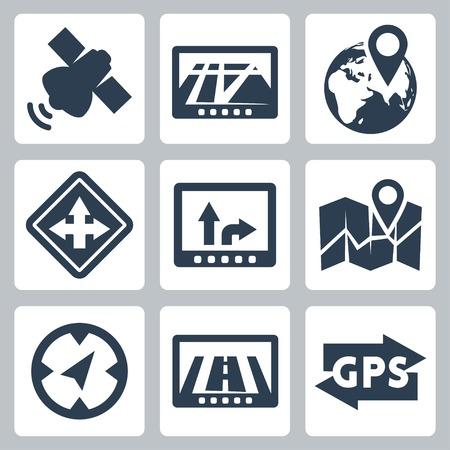 fourchette  route: Vector GPS et navigation icons set