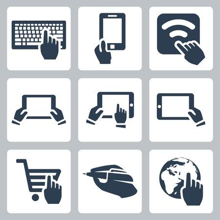the internet: Mani vettoriali e icone di tecnologia impostate Vettoriali