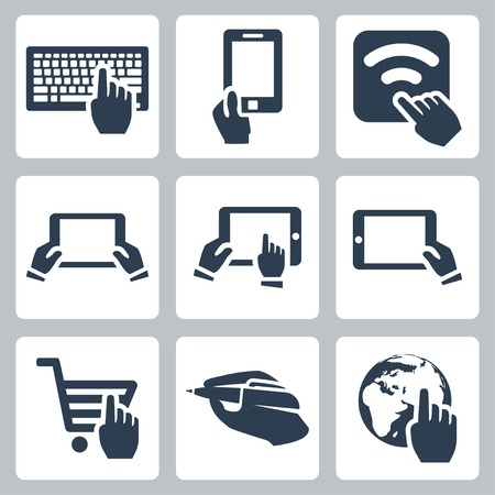 Vector hands and technology icons set