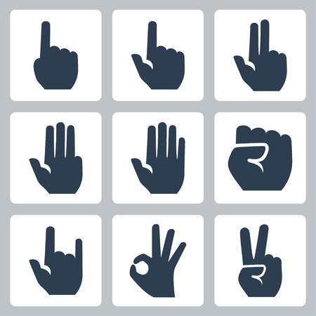 Vector handen pictogrammen die vinger tellen, stop gebaar, vuist, duivel hoorns gebaar, goed gebaar, v teken