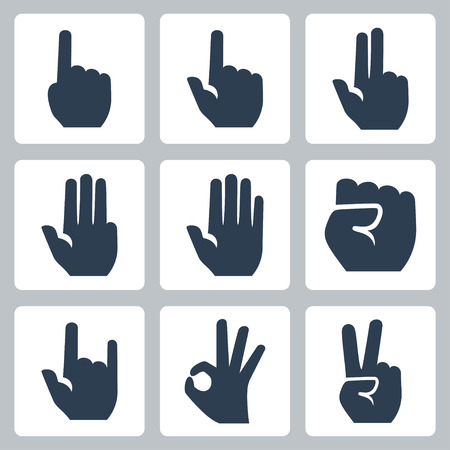 ok sign language: Vector hands icons set  finger counting, stop gesture, fist, devil horns gesture, okay gesture, v sign