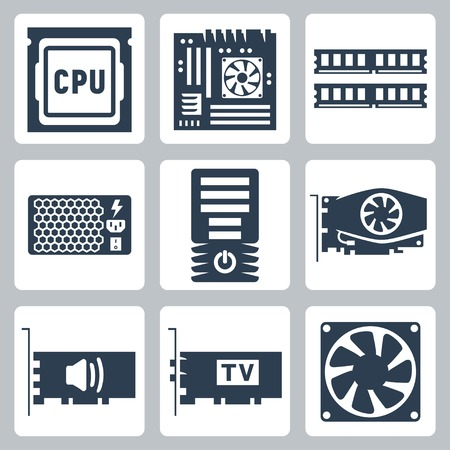 Vector hardware icons set  CPU, motherboard, RAM, power unit, computer case, video card, sound card, TV-tuner, cooler