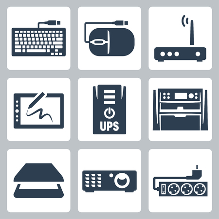 Vector hardware icons set  keyboard, computer mouse, modem, graphics tablet, UPS, multifunction device, scanner, projector, surge filter Vector