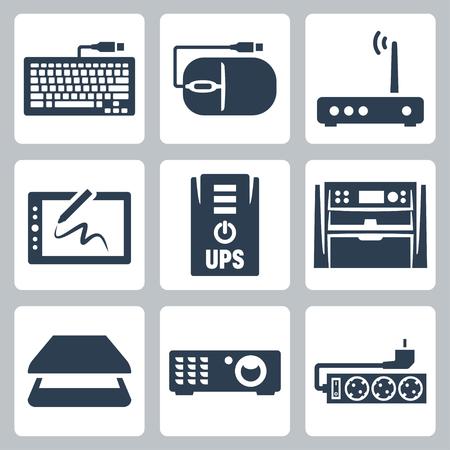 modem: Vector hardware icons set  keyboard, computer mouse, modem, graphics tablet, UPS, multifunction device, scanner, projector, surge filter