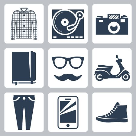 plimsolls: Vector hipster icons set  check shirt, record player, camera, writing pad, glasses, mustache, scooter, skinny jeans, smartphone, sneakers Illustration
