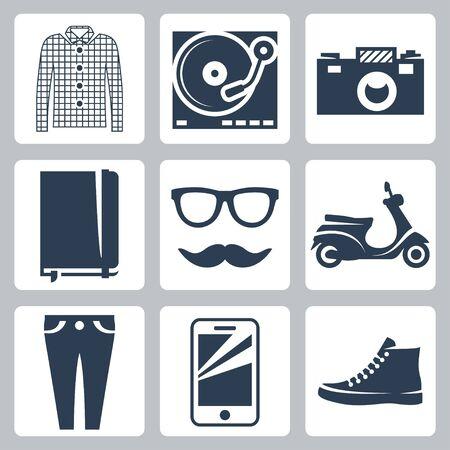 skinny jeans: Vector inconformista iconos conjunto comprueban la camisa, tocadiscos, c�mara, panel de escritura, gafas, bigote, vespa, jeans ajustados, smartphone, zapatillas de deporte