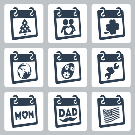 march 17: Vector calendar icons representing holidays  Christmas New Year, Valentine
