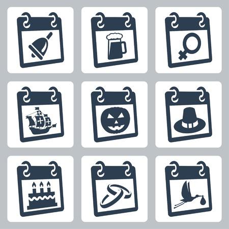 Vector calendar icons representing holidays  The Knowledge Day, Oktoberfest, International Woman Vector
