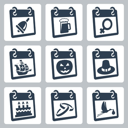 Vector calendar icons representing holidays  The Knowledge Day, Oktoberfest, International Woman Illustration