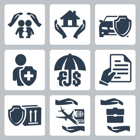 醫療保健: 向量保險圖標設置家庭保險,家庭保險,汽車保險,人壽保險,存款保險,保險單,貨物保險,旅遊保險,商業險