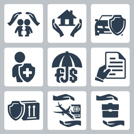 Vector insurance icons set  family insurance, home insurance,auto insurance, life insurance, deposit insurance, insurance policy, insurance of goods, travel insurance, business risk insurance Vector