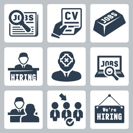 job search: Vector job hunting, job search, human resources icons set