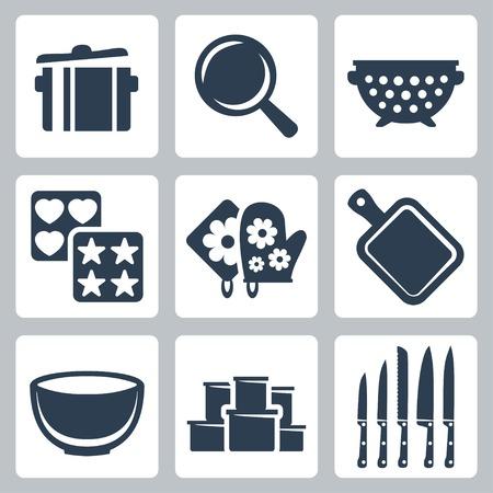 Vector geïsoleerd keukengerei pictogrammen pot, koekenpan, vergiet, bakvorm, pannenlap, snijplank, kom, containers, messen Vector Illustratie
