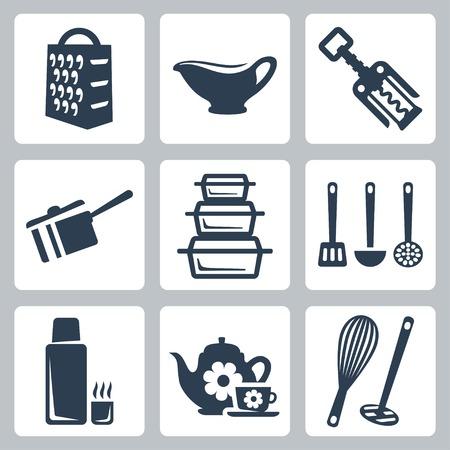 分離されたベクトル キッチン用品のアイコンを設定するおろし金ソース入れ、コルクせん抜き、スクープ、耐熱皿、ヘラ、鍋、スキマー、ポット、