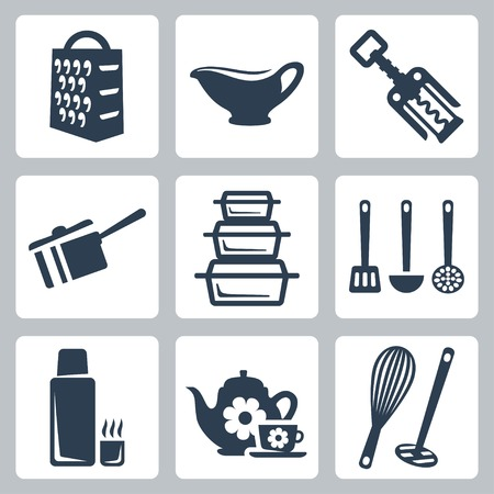 Vector isolated kitchenware icons set  grater, sauceboat, corkscrew, scoop, bakeware, spatula, ladle, skimmer, thermos, tea set, whisk, masher Çizim