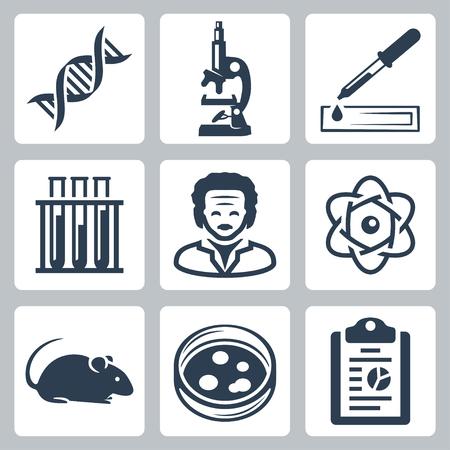 medical study: Vector icone isolati di laboratorio di