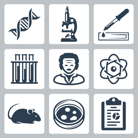 petri: Vector isolated laboratory icons set Illustration