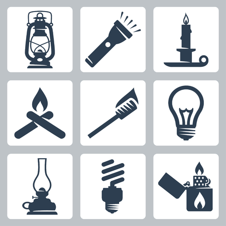 oil lamp: Vector light and lighting appliances icons set  lantern, flashlight, candle, bonfire, torch, bulb, hurricane lamp, energy saving bulb, lighter